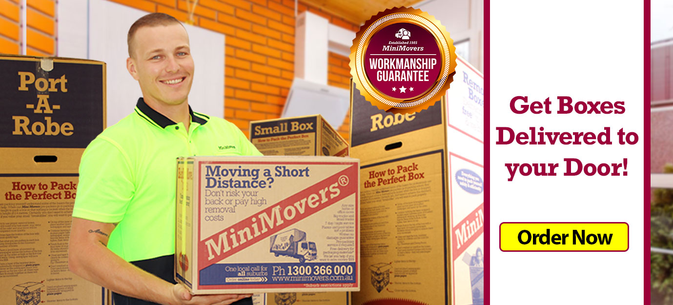 MiniMovers removalists holding MiniMovers Boxes